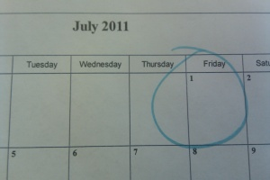 Calendar with July 1, 2011 circled