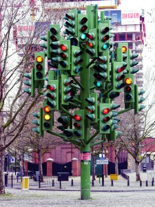 A confusing array of traffic lights