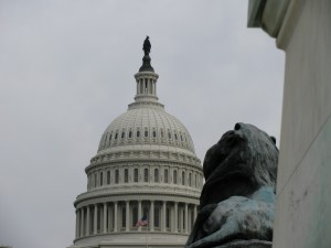 Photo of the U.S. Capitol dome, a U.S. flag, and the statute of a  lion