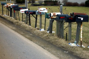 Photo of a row of postal boxes.