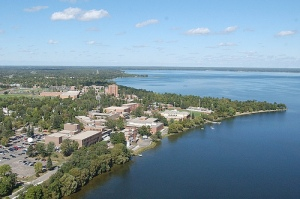 Aerial photo of the Bemidji state campus and Lake Bemidji