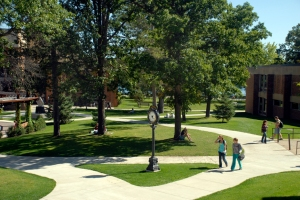 Students in a summer scene on the Bemidji State U commons