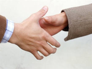 A picture of a man's hand and woman's hand involved in a handshake.