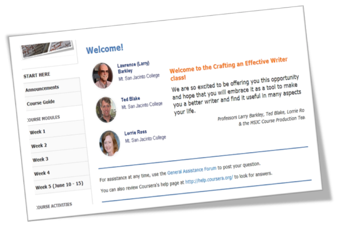 Screen shot of the MOOC welcome page with photos of the faculty, navigation, and a welcome message.