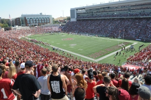 Phot of students at a football game in WSU's stadium