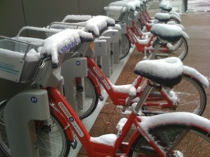 Photo of bikes with snow on them