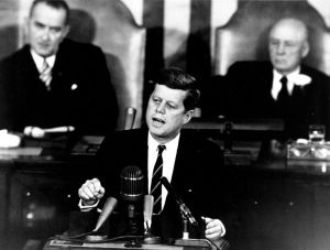 "photo of John F. Kennedy giving the ""moon"" speech"