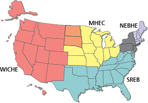 States belonging to each compact.  ND and SD belong to both MHEC and WICHE. NJ, NY, and PA can join a compact for SARA purposes.