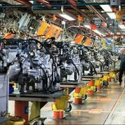 Photo of automobile engine assembly line.