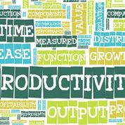 "Graphic of words related to productivity such as ""output"", ""measures"", and ""growth""."