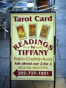 Photo of sign advertising Tarot Card readings