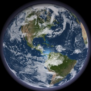 Photo of the Earth focusing on North and South America