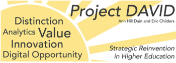 Project DAVID logo with the acronym spelled out: Distinction, Analytics, Value, Innovation, and Digital opportunties.