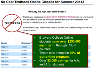 Figure 1: Broward College Online website advertising for no-textbook/material cost classes.