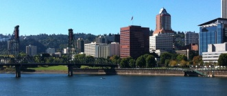 Photo of the Willamette River and downtown Portland