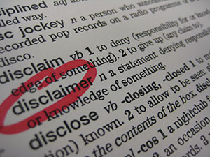 "Photo of a dictionary with the term ""disclaimer"" highlighted."