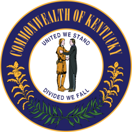 "The official seal of the Commonwealth of Kentucky.  It reads ""United We Stand, Divided We Fall"" with two people shaking hands in the center."