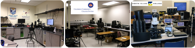 Three photos of different lab locations and the equipment at each location.