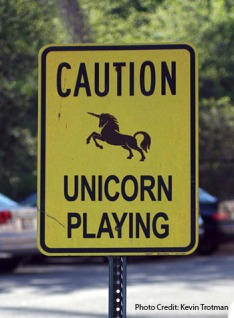 "A picture of a sign the depicts a unicorn and the words ""Caution, unicorn playing"""