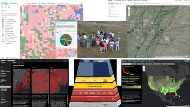 Montage of several maps and students in a field.
