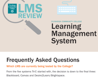 Part of the cover of a brochure used to inform faculty and staff on the LMS Review process. It gives a status that the College was down to the final three: Blackboard, Canvas, and Desire2Learn