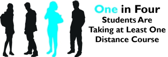 "Reads ""One in four students are taking at least one distance course."""