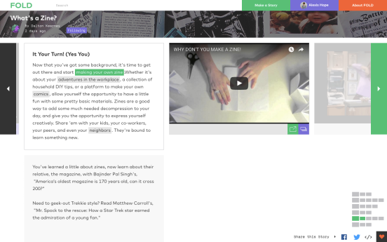 """Demonstrates how when you scroll through the text in the """"backbone"""" part of the page on the left hand side of the screen, that additional resources appear on the right part of the screen."""