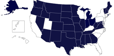 Map of US with Approved States Map from the National Council for State Authorization Reciprocity Agreements filled in.