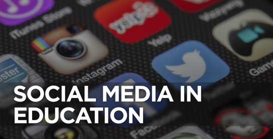 "Graphic reading ""Social Media in Education"" written over the icons for several social media apps."