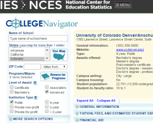 Snapshot of the College Navigator produced by the Department of Education. Shown is part of the search tool and results for the University of Colorado Denver.