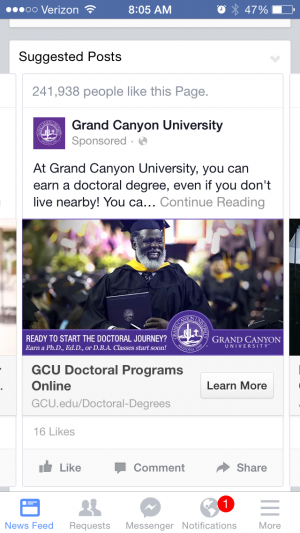 FB ad for grand canyon university featuring graduate