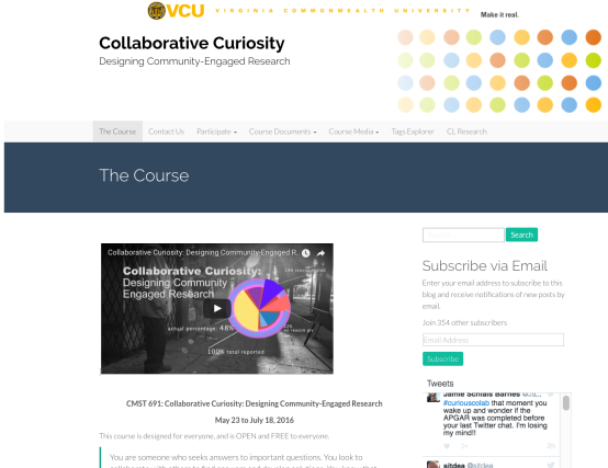 Course Homepage with course description, link to the course video trailer, and twitter feed.