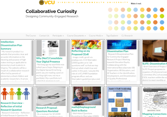 On the bloggergate page, samples of content posted by students are shown and the full content can be linked.