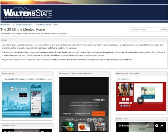 Walters State Community College - The 20 Minute Mentor homepage