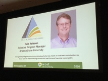 Slide with Dale Johnson, winner of Sally Johnstone Award