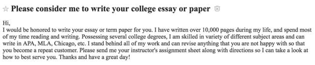 "Clip of an ad headlined ""Please consider me to write your college essay or paper."""