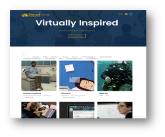 "Screenshot of virtually inspired page on the Drexel University website. Shows large banner at the top of the page with words ""virtually inspired."""
