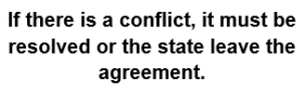 "Text box reading: ""If there is a conflict, it must be resolved or the state leave the agreement."""