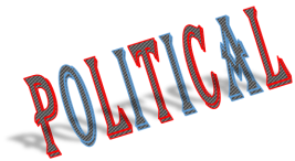 "shadowed text art with word ""political"""