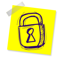 Image of a padlock on a stickynote