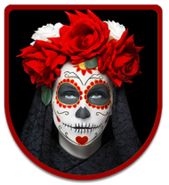 A badge showing an individual wearing traditional day of the dead garb such as flowers and the sugar skull mask
