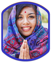 badge showing a women wearing a headscarf or hijab and a bindi with her palms together, smiling toward camera.
