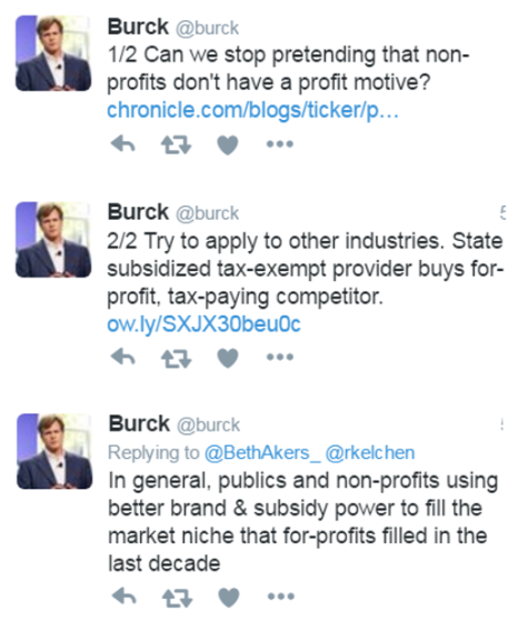 "Three tweets. #1 reads ""Can we stop pretending that non-profits don't have a profit motive?"" #2 reads ""Try to apply to other industries. State subsidized tax-exempt provider buys for-profit, tax-paying competitor."" #3 reads: ""In general, publics and non-profits using better brand & subsidy power to fill the market niche that for-profits filled in the last decade."""