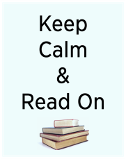 poster reading keep calm and read on with a pile of four books