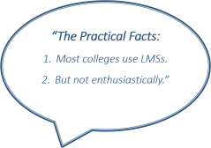 "graphic reads ""The Practical Facts: 1. Most colleges use LMSs. 2. But not enthusiastically"""