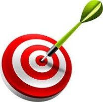 Picture of a target with a dart firmly implanted in the bulls eye.