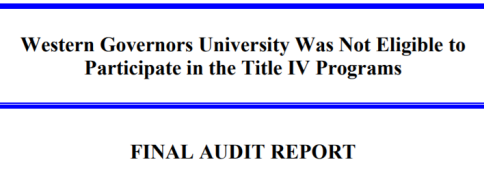 "The OIG report header reading: ""Western Governors University Was Not Eligible to Participate in the Title IV Programs: Final Audit Report"""