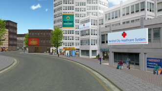a screenshot from inside the sentinel city platform, showing a virtual healthcare building