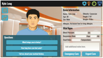 Scree shot of a virtual digital assesment, showing a virtual avatar (virtual patient), with questions