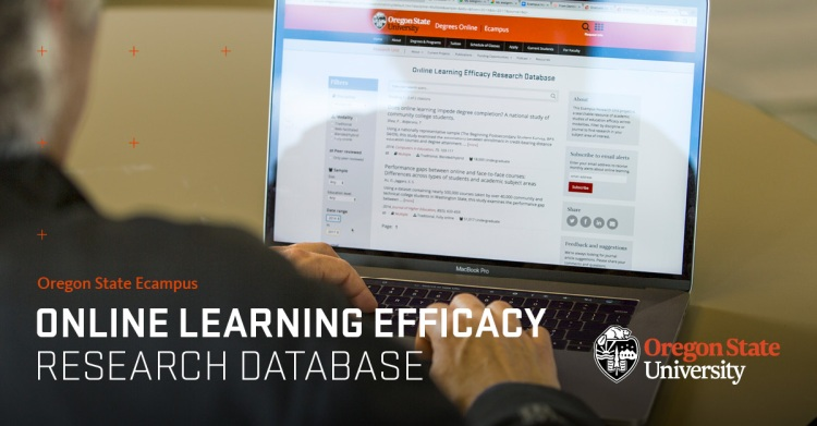 "photo of someone usin the research database. Words on the front of the image say ""oregonstate ecampus online learning efficacy research database"" followed by the OSU logo."